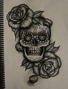 Resultado de imagen para sugar skull tattoo
