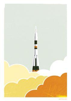 Modernes russisches Raketen-Poster