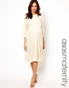 ac6306d24b9f8 ASOS Maternity | ASOS Maternity Midi Dress With Tab Side at ASOS Cream  Maternity Dresses,