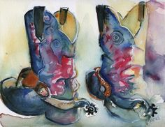 Good Ride original painting watercolor cowboy by mariaswatercolor, $75.00