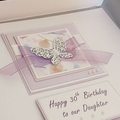 """Luxury Handmade Birthday Card """"Large lilac butterflies"""" for Mum, Sister, Daughter, for 18th, 21st, 30th, 40th, 50th, 60th, 70th, 80th, 90th"""