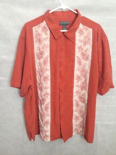Saddlebred Men's XXL Hawaiian Rust Flowers Bowling SILK Short Sleeve Shirt US $19.99 Pre-owned in Clothing, Shoes & Accessories, Men's Clothing, Casual Shirts