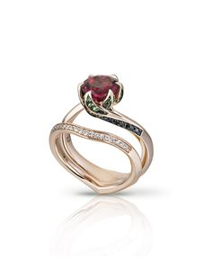 Black Hills Gold Wedding - Black Hills Gold Wedding Rubellite Lily Pad Ring – Multi-award-winning jeweller, Donocik aims to - Black Hills Gold Jewelry, Disney Jewelry, Gothic Jewelry, Unique Rings, Beauty And The Beast, Ring Designs, Wedding Rings, Gold Wedding, Wedding Black