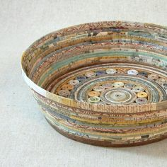 Recycled Coiled Paper Basket Bowl Large Earth by BlueTangDesigns, $30.00