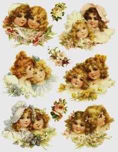 1 feuille stickers fillettes victoriennes : Embellissements par lolitarose