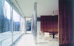 Mies van der Rohe, Tugendhat House, Brno, 1928–30; interior view along glass wall to dining room and terrace. Image © isifa Image Service s.r.o./Alamy