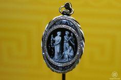 Vacheron Constantin – Voyage et Ornaments Lady's pendant watch, diamond stylized frame, gold, platinum, enamel on guilloché, 1910