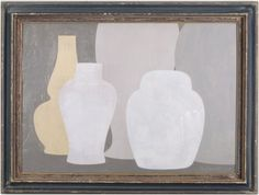 yellow & 4 grey - Original acrylic painting on wood in antique frame by Peter Woodward