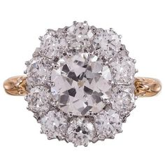 Preowned Old European Diamond Gold Cluster Ring (29,090 CAD) ❤ liked on Polyvore featuring jewelry, rings, multiple, yellow gold rings, antique rings, 18k gold charms, diamond rings and yellow gold diamond ring