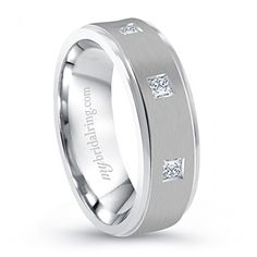 Three sparkling diamonds feel like prince in any occasion. High polished bevel edges with smooth surface. All diamonds are GIA certified. Metal is 14k white gold. #weddingband - http://www.mybridalring.com/Mens/14k-white-gold-engagement-ring-with-three-square-cut-diamonds/