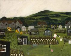 Sunflowers, Socks & Sheds: In the shadow of Mount Caburn Amongst the sunflowers socks and sheds The gardeners pass the time of day Whilst tending to the beds. By Gary Bunt English Artists, Naive Art, Gouache Painting, Whimsical Art, Box Art, Painting Inspiration, Garden Art, Illustration Art, Artwork