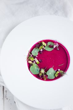 Beet Gazpacho- a luscious chilled beet soup with cucumber, avocado and fresh dill. Vegan & GF