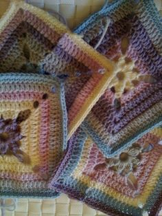 all 4 begonia Crochet Blocks - Love the pastel colors in this.