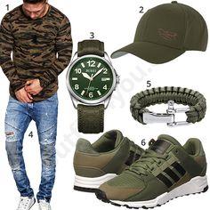 Grüner Herren-Style mit Camoufalge Pullover und Cap #camouflage #grün #uhr #jeans #adidas #outfit #style #herrenmode #männermode #fashion #menswear #herren #männer #mode #menstyle #mensfashion #menswear #inspiration #cloth #ootd #herrenoutfit #männeroutfit