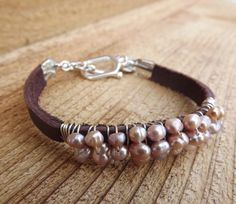 Pearls and leather bracelet...
