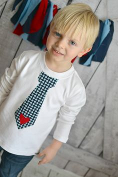 LITTLE HEARTBREAKER Valentines Day Boys Tie Shirt or Onesie in Navy Dot with Red Heart Sizes 3m-6T #valentinesdayshirt #boysshirt #tieshirt #sweetthreadsclothing #valentinesday