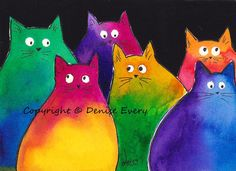 Very Colorful TwoToned Kitties Whimsical Abstract by DeniseEvery, $8.99