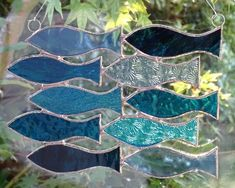 Stained Glass Shoal of 10 Fish Suncatcher - Blue and Turquoise £22.95