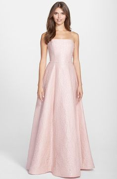 Free shipping and returns on Halston Heritage Jacquard Strapless Gown at Nordstrom.com. Exquisitely textured jacquard gives a rich, luxe weight to a regal strapless gown offset with a delightful blush-pink hue. The simple silhouette nips in at your narrowest point before gently flaring to the beautiful, floor-sweeping hem.