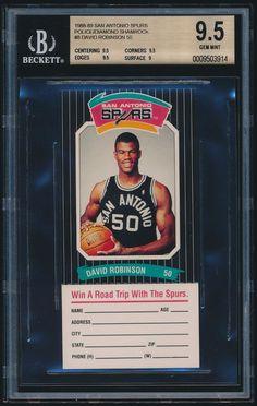 1988-89 San Antonio Spurs Police Diamond Shamrock #8 David Robinson rc BGS 9.5 #SanAntonioSpurs