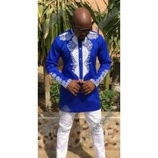 Men's Blue Polished Top with White Embroidery Design And White Pant