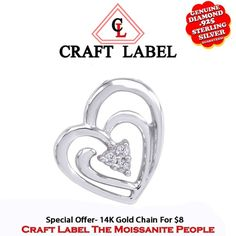 """1/20 Ct Genuine Diamond 14K Gold Double Heart Solitaire Pendant Without Chain """"Mother\'s Day Gift"""". Starting at $158"""