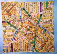 "Antique Cigar Silk Ribbon Band Embroidered Folk Art Quilt - Tobbacciana 22"" x 22"" - $499"