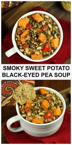 Vegan Smoky Sweet Potato Black-eyed Pea Soup is full of flavor, plant-based protein, is oil-free, dairy-free and made with delicious whole foods! A total bowl of comfort that is easy to make and will leave you feeling satisfied! #vegan #plantbased #soup #smoky #sweetpotato #oilfree Whole Food Recipes, Soup Recipes, Vegetarian Recipes, Healthy Recipes, Free Recipes, Vegan Soups, Vegan Food, Eating Vegan, Vegan Black Eyed Peas Recipe