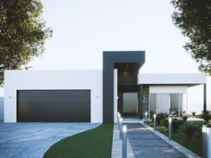 Single Family Homes project in MOOLOOLABA, AU designed by Anonymous - Modern Australian house facade Small Modern House Exterior, Modern Small House Design, Modern House Facades, Modern Exterior Doors, Dream House Exterior, Modern Architecture House, Modern Home Exteriors, Modern Family House, Chinese Architecture
