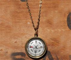 Love it...retro...Compass Necklace