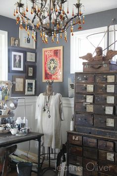 Fall Decorating Ideas {Finding Fall Home Tour} | Jeanne Oliver - love the vintage file drawers!