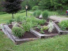 Terrace planters with wood railroad ties, but with stone not railroad ties. Garden Beds, Steep Gardens, Backyard Garden, Landscaping Around Trees, Outdoor Plants, Outdoor Gardens, Railroad Ties Landscaping, Garden Design, Garden