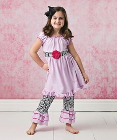 Love this Lavender Rosette Ruffle Dress Set - Infant, Toddler & Girls on #zulily! #zulilyfinds
