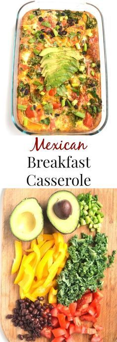 This Mexican Breakfast Casserole is simple to make and is full of flavor with black beans, salsa, bell peppers, avocado and cilantro! http://www.nutritionistreviews.com