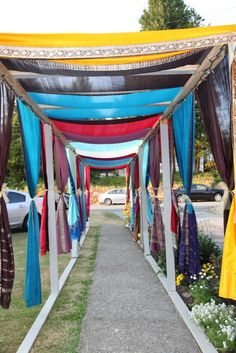 indian wedding outdoor walkway at wedding house decorated using wedding decorations for house