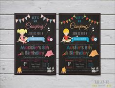 """Camping 5x7 invitation (Pick Your Hair Color) and 2"""" circle pack (including picture cupcake topper) by KarinakdDesigns on Etsy"""
