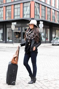 Travel-outfit women apparel style outfit @roressclothes closet ideas fashion ladies clothing