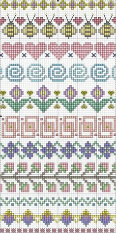 Valentine Freebie ~ Blue Eyed Bees Send Messages of Love Cross-stitch Borders. no color chart available, just use pattern chart as your color guide. or choose your own colors. Point de croix *m Cross stitch borders Cross Stitch Borders, Crochet Borders, Cross Stitch Charts, Cross Stitch Designs, Cross Stitching, Cross Stitch Embroidery, Embroidery Patterns, Cross Stitch Patterns, Crochet Edgings