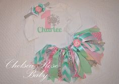 """Adorable Winter """"One-derland"""" birthday outfit by www.chelsearosebaby.com Mint and light pink fluffy fabric tutu! So cute!"""