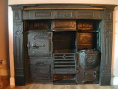 SalvoWEB : Antique cast Iron Cooking Range & Antique Cast Iron Fire Surround