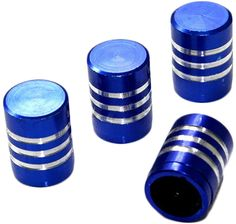 """Amazon.com : (4 Count) Cool and Custom """"Smooth Stripes with Easy Grip Shape"""" Tire Wheel Rim Air Valve Stem Dust Cap Seal Made of Genuine Anodized Aluminum Billet Metal {Starry Subaru Blue and Silver Colors - Hard Metal Internal Threads for Easy Application - Rust Proof - Fits For Most Cars, Trucks, SUV, RV, ATV, UTV, Motorcycle, Bicycles} : Sports & Outdoors"""