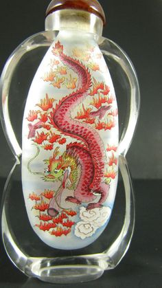 Vintage Chinese Perfume Snuff Bottle Reverse Painted Dragons