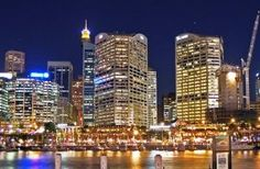 Oh Boy you guys will never believe the CRAZY low cost I recently paid out for my next holiday! Darling Harbour, List Of Countries, Next Holiday, Amazing Destinations, San Francisco Skyline, Places To See, New York Skyline, Australia, Night