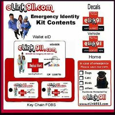 eLink 911 Personal Emergency ID Kit (eID Kit) by eLink 911. $12.95. Unique Member # for positive identity Search. eID Kit Includes (1-Wallet eID, 2-Key Chain FOBS, 2 Vehicle and 1 Home Decals). Global Emergency (ICE+) Registration on www.elink911.com. Two eID Kits available - Standard and Medical Alert. Personal Emergency Identity Kit