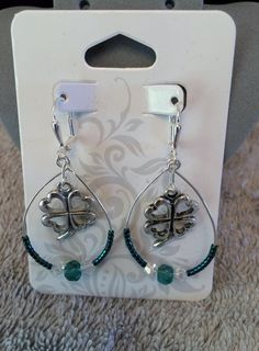 4 Leaf Clover Dangle Earring by MadeByASoldiersWife on Etsy
