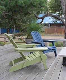 Freshly painted Adirondack chairs