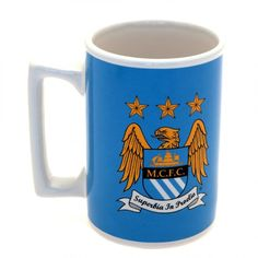 MANCHESTER CITY Ceramic Mug in club colours and featuring the club crest. Approx 9 cm in height and 8 cm in diameter. Official Licensed Manchester City mug Mugs Uk, Ip Man, Uk Football, Manchester City, Blue Moon, Musicals, Colours, Ceramics, Tableware