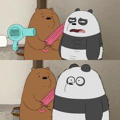Tag a person below who is panda 🐼😂💗 We Bare Bears Human, Ice Bear We Bare Bears, 3 Bears, Cute Bears, Cartoon Memes, Cartoon Pics, Cartoons, Bear Wallpaper, Disney Wallpaper