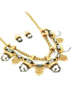 18 Goldtone, White, and Jet Aztec Necklace and Earring Set