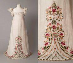 Robe de fille 1812-1815, Angleterre Mousseline brodés avec laine V et un musée